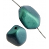 Glass Icy Stone 15x12mm Green Metallic